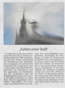 Das ist der Pressebericht vom 12.11.2018 über die Ausstellung in der Sparkasse Landshut